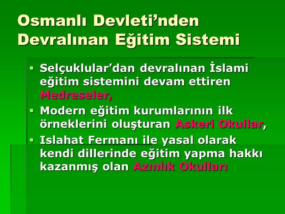 Osmanlı Devleti'nden Devralınan Eğitim Sistemi  Selçuklular'dan devralınan İslami eğitim sistemini devam ettiren Medreseler,  Modern eğitim kurumlar