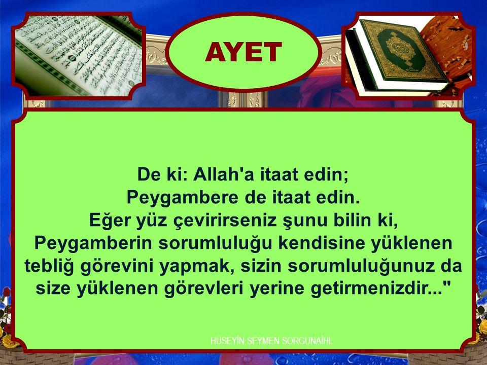 De ki: Allah'a itaat edin; Peygambere de itaat edin. Eğer yüz çevirirseniz şunu bilin ki, Peygamberin sorumluluğu kendisine yüklenen tebliğ görevini y