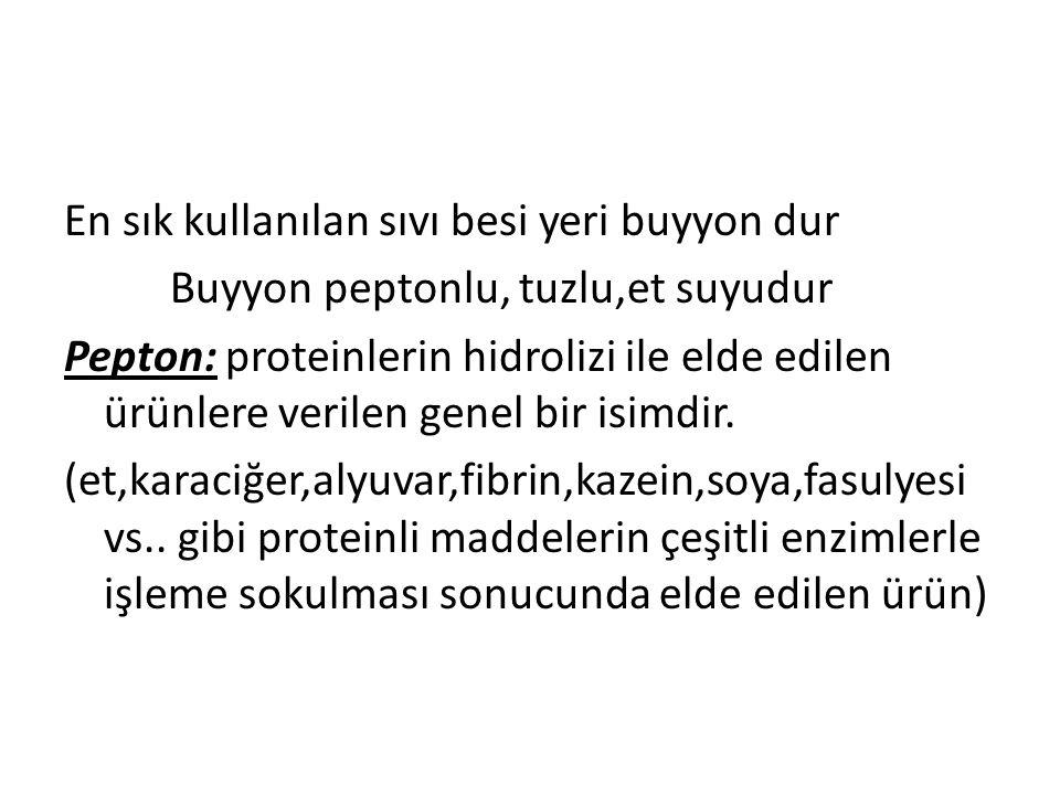 En sık kullanılan sıvı besi yeri buyyon dur Buyyon peptonlu, tuzlu,et suyudur Pepton: proteinlerin hidrolizi ile elde edilen ürünlere verilen genel bi
