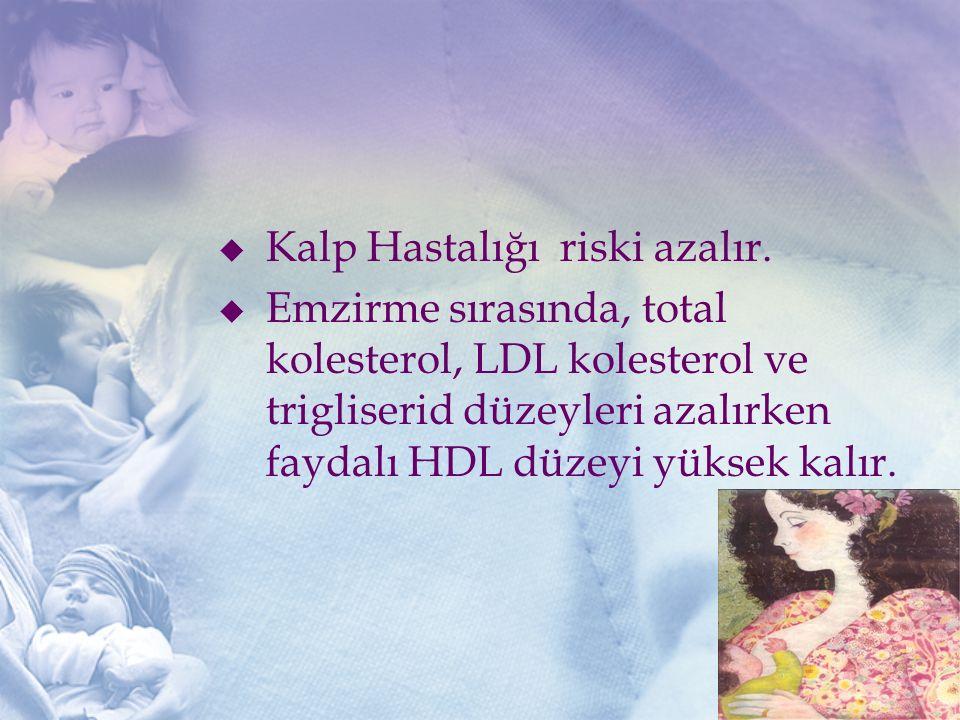  Kalp Hastalığı riski azalır.  Emzirme sırasında, total kolesterol, LDL kolesterol ve trigliserid düzeyleri azalırken faydalı HDL düzeyi yüksek kalı