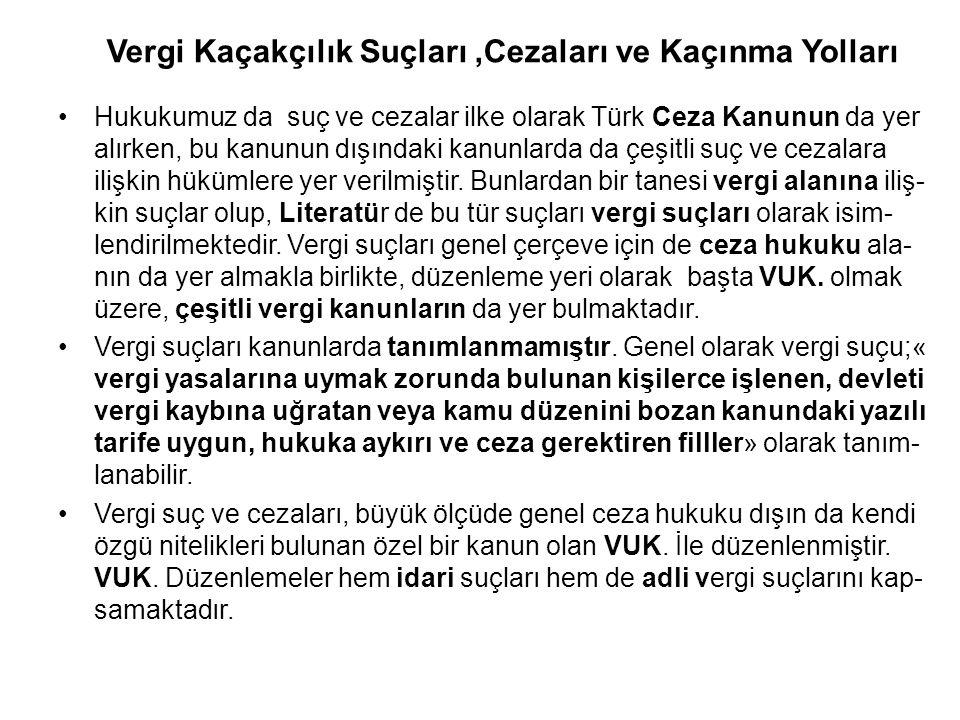 Vergi Kaçakçılık Suçları,Cezaları ve Kaçınma Yolları Hukukumuz da suç ve cezalar ilke olarak Türk Ceza Kanunun da yer alırken, bu kanunun dışındaki ka