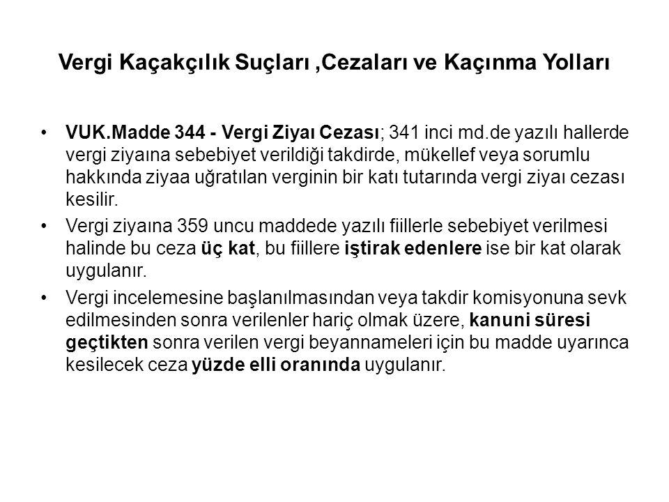 Vergi Kaçakçılık Suçları,Cezaları ve Kaçınma Yolları VUK.Madde 344 - Vergi Ziyaı Cezası; 341 inci md.de yazılı hallerde vergi ziyaına sebebiyet verild