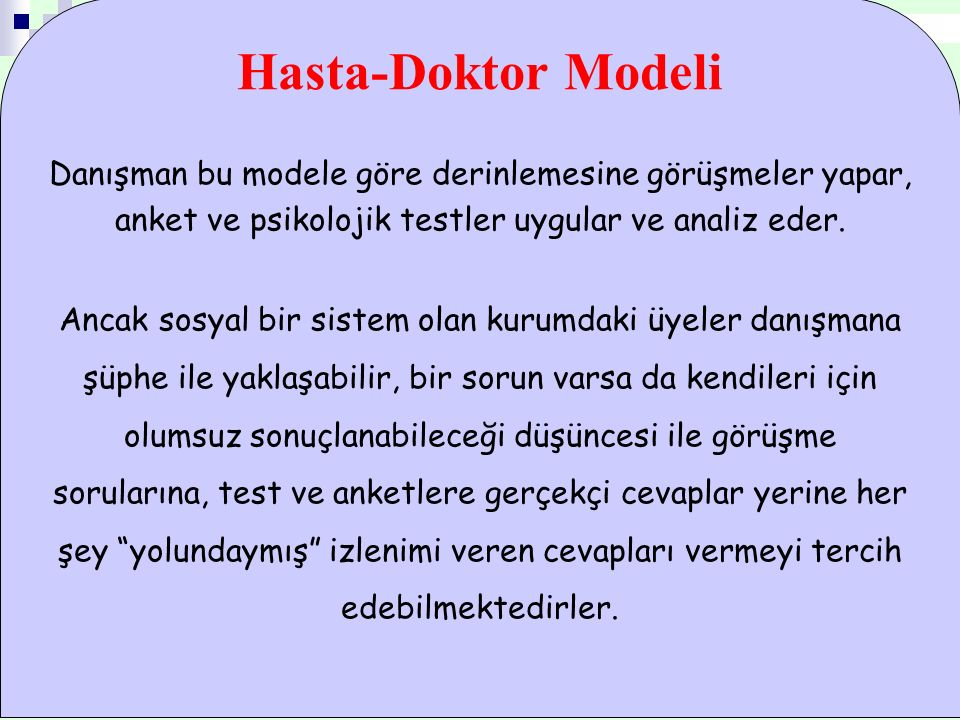 Hasta-Doktor Modeli Danışman bu modele göre derinlemesine görüşmeler yapar, anket ve psikolojik testler uygular ve analiz eder. Ancak sosyal bir siste