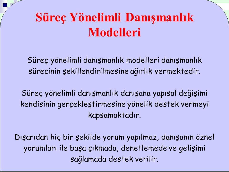 Süreç Yönelimli Danışmanlık Modelleri Süreç yönelimli danışmanlık modelleri danışmanlık sürecinin şekillendirilmesine ağırlık vermektedir.
