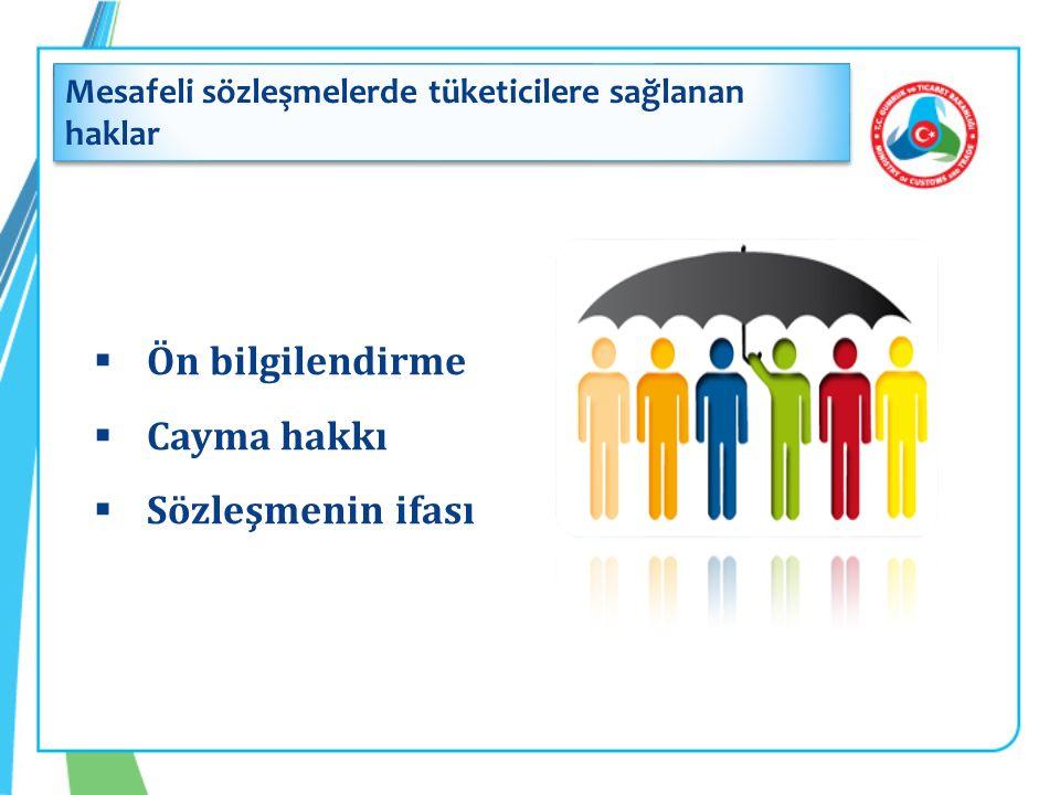  Ön bilgilendirme  Cayma hakkı  Sözleşmenin ifası Mesafeli sözleşmelerde tüketicilere sağlanan haklar
