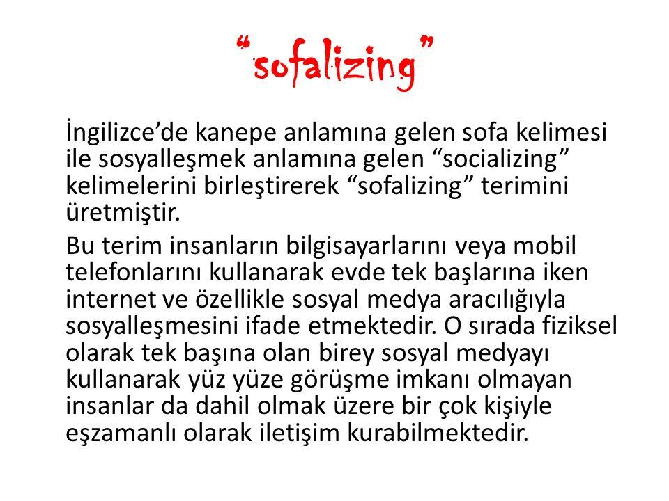 """""""sofalizing"""" İngilizce'de kanepe anlamına gelen sofa kelimesi ile sosyalleşmek anlamına gelen """"socializing"""" kelimelerini birleştirerek """"sofalizing"""" te"""