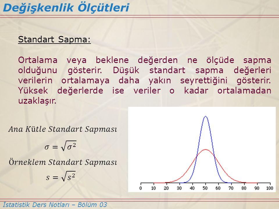Standart Sapma: Ortalama veya beklene değerden ne ölçüde sapma olduğunu gösterir. Düşük standart sapma değerleri verilerin ortalamaya daha yakın seyre