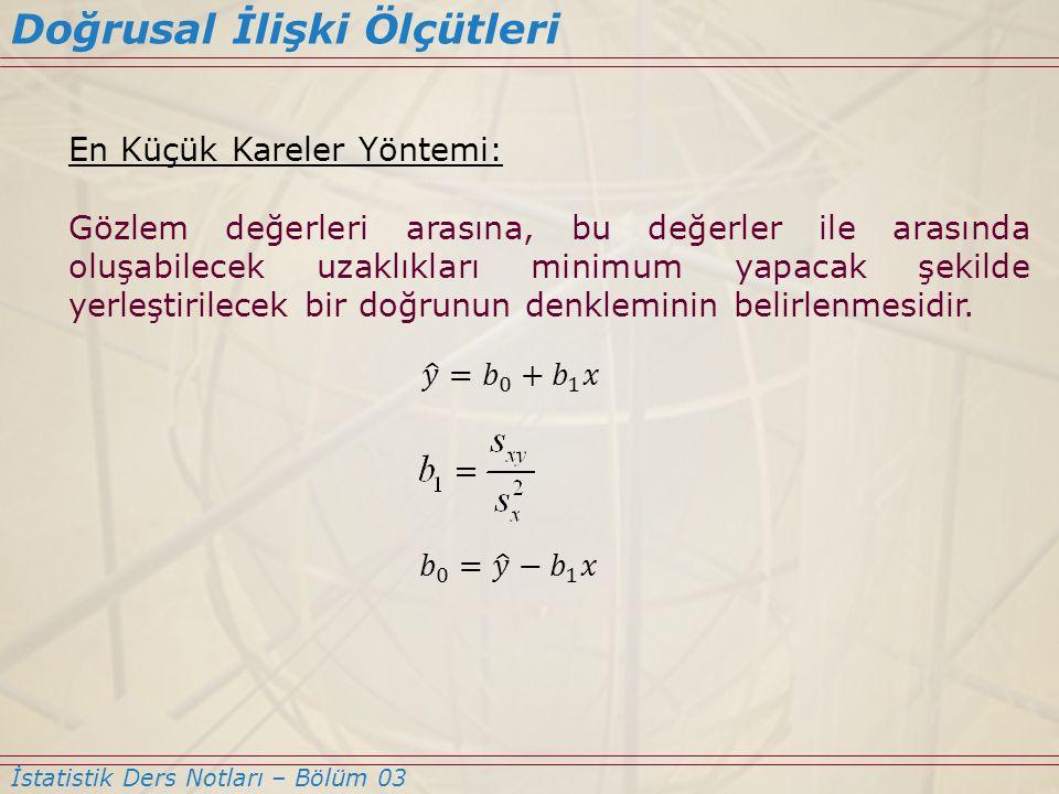 En Küçük Kareler Yöntemi: Gözlem değerleri arasına, bu değerler ile arasında oluşabilecek uzaklıkları minimum yapacak şekilde yerleştirilecek bir doğr