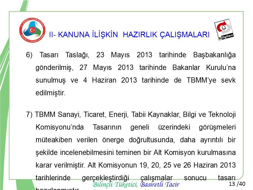 13 /40 Bilinçli Tüketici, Basiretli Tacir II- KANUNA İLİŞKİN HAZIRLIK ÇALIŞMALARI 6) Tasarı Taslağı, 23 Mayıs 2013 tarihinde Başbakanlığa gönderilmiş,