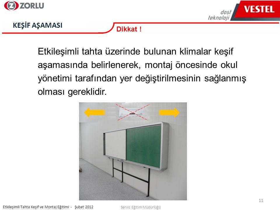 11 Servis Eğitim Müdürlüğü Etkileşimli Tahta Keşif ve Montaj Eğitimi - Şubat 2012 KEŞİF AŞAMASI Dikkat .
