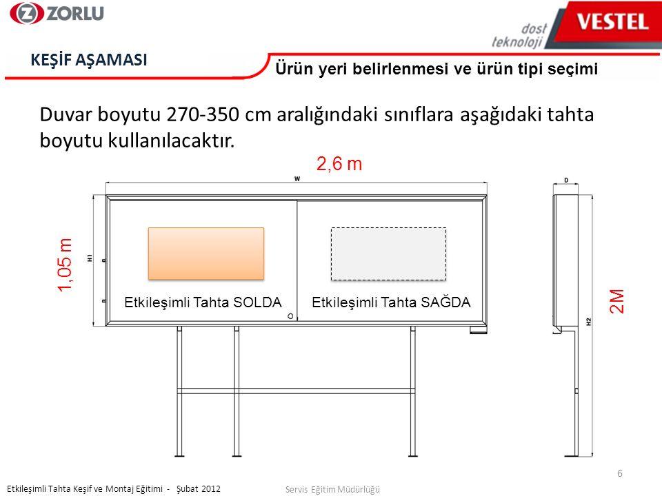 7 Servis Eğitim Müdürlüğü Etkileşimli Tahta Keşif ve Montaj Eğitimi - Şubat 2012 KEŞİF AŞAMASI 4 çeşit ürün vardır 3,4 m 2,6 m Etkileşimli tahta solda 13 24 Etkileşimli tahta sağda 3,4 m 2,6 m