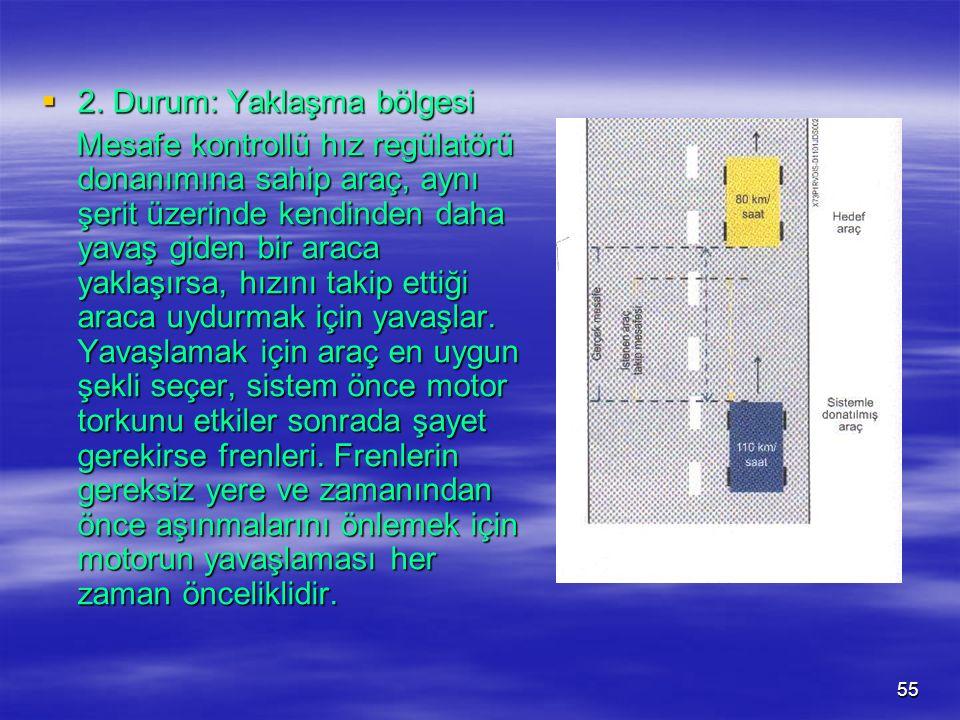 54  1. Durum: Gözlem bölgesi Hiçbir aracın saptanmadığı durumda sistem standart bir hız regülatörü gibi çalışır. Hiçbir aracın saptanmadığı durumda s