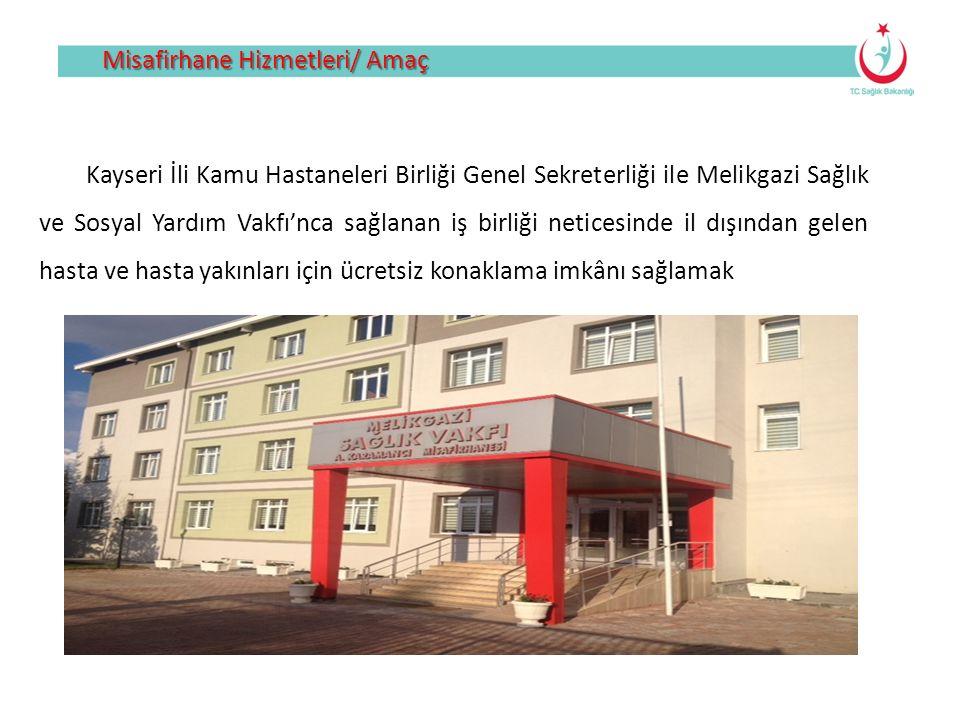Misafirhane Hizmetleri/ Amaç Kayseri İli Kamu Hastaneleri Birliği Genel Sekreterliği ile Melikgazi Sağlık ve Sosyal Yardım Vakfı'nca sağlanan iş birli