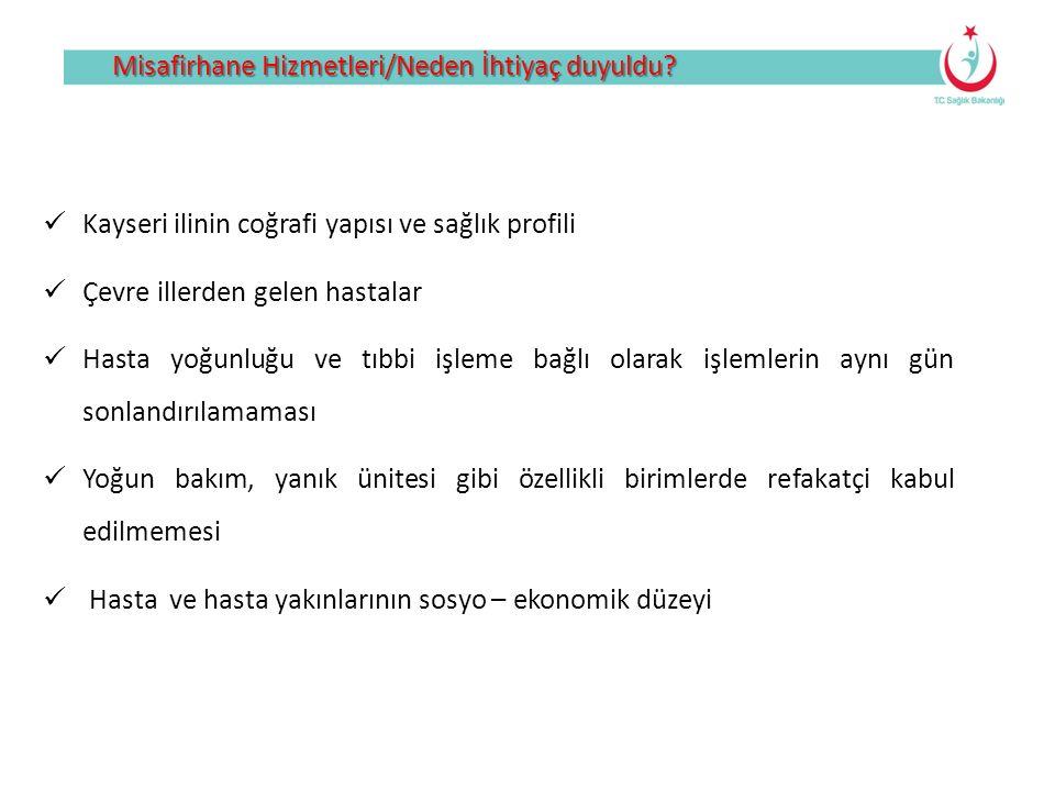 Misafirhane Hizmetleri/Neden İhtiyaç duyuldu? Kayseri ilinin coğrafi yapısı ve sağlık profili Çevre illerden gelen hastalar Hasta yoğunluğu ve tıbbi i