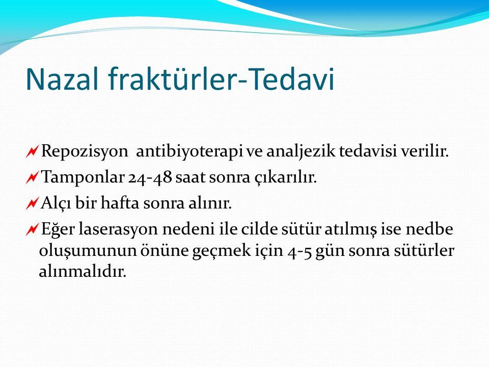 Nazal fraktürler-Tedavi  Repozisyon antibiyoterapi ve analjezik tedavisi verilir.  Tamponlar 24-48 saat sonra çıkarılır.  Alçı bir hafta sonra alın