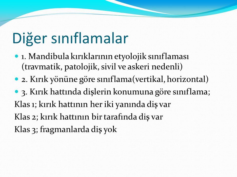 Diğer sınıflamalar 1. Mandibula kırıklarının etyolojik sınıflaması (travmatik, patolojik, sivil ve askeri nedenli) 2. Kırık yönüne göre sınıflama(vert