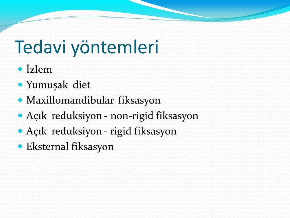 Tedavi yöntemleri İzlem Yumuşak diet Maxillomandibular fiksasyon Açık reduksiyon - non-rigid fiksasyon Açık reduksiyon - rigid fiksasyon Eksternal fik