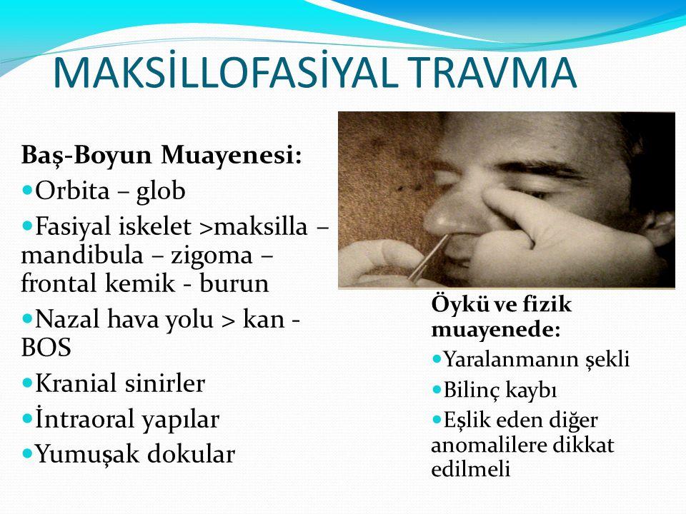 MAKSİLLOFASİYAL TRAVMA Baş-Boyun Muayenesi: Orbita – glob Fasiyal iskelet >maksilla – mandibula – zigoma – frontal kemik - burun Nazal hava yolu > kan