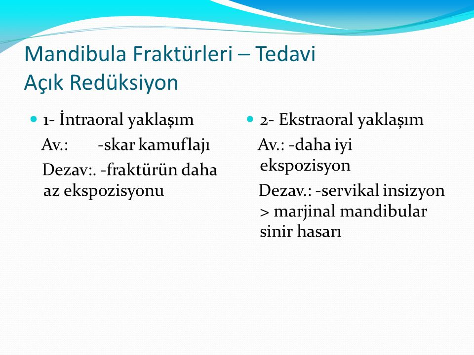 Mandibula Fraktürleri – Tedavi Açık Redüksiyon 1- İntraoral yaklaşım Av.: -skar kamuflajı Dezav:. -fraktürün daha az ekspozisyonu 2- Ekstraoral yaklaş