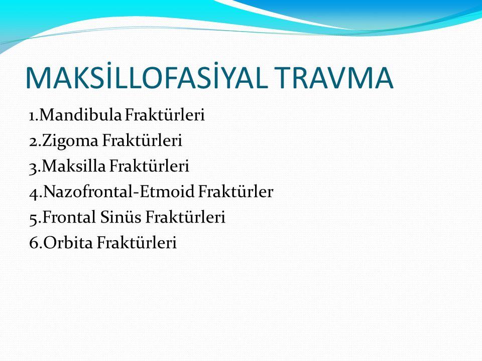 MAKSİLLOFASİYAL TRAVMA 1.Mandibula Fraktürleri 2.Zigoma Fraktürleri 3.Maksilla Fraktürleri 4.Nazofrontal-Etmoid Fraktürler 5.Frontal Sinüs Fraktürleri