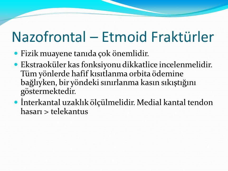 Nazofrontal – Etmoid Fraktürler Fizik muayene tanıda çok önemlidir. Ekstraoküler kas fonksiyonu dikkatlice incelenmelidir. Tüm yönlerde hafif kısıtlan