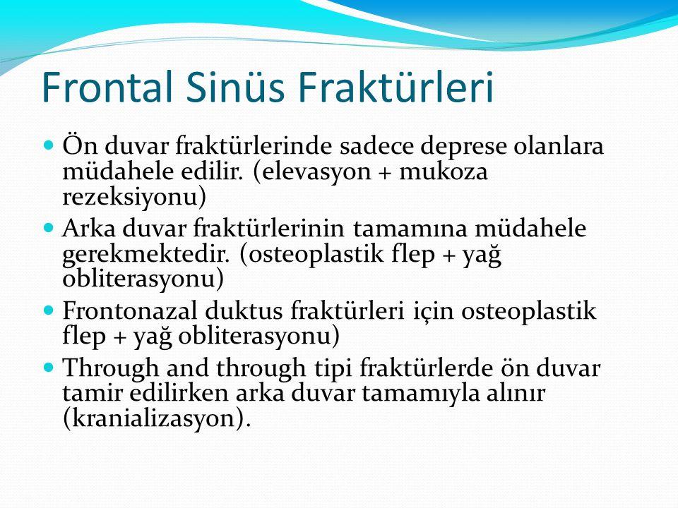 Frontal Sinüs Fraktürleri Ön duvar fraktürlerinde sadece deprese olanlara müdahele edilir. (elevasyon + mukoza rezeksiyonu) Arka duvar fraktürlerinin
