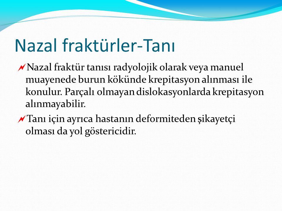 Nazal fraktürler-Tanı  Nazal fraktür tanısı radyolojik olarak veya manuel muayenede burun kökünde krepitasyon alınması ile konulur. Parçalı olmayan d