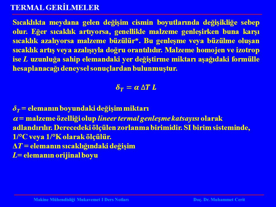 TERMAL GERİLMELER