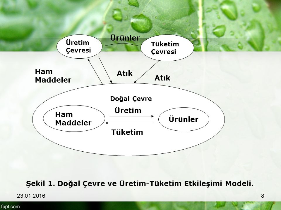 Tüketim Ham Maddeler Ürünler Üretim Çevresi Tüketim Çevresi Ürünler Atık Ham Maddeler Doğal Çevre Üretim Şekil 1. Doğal Çevre ve Üretim-Tüketim Etkile
