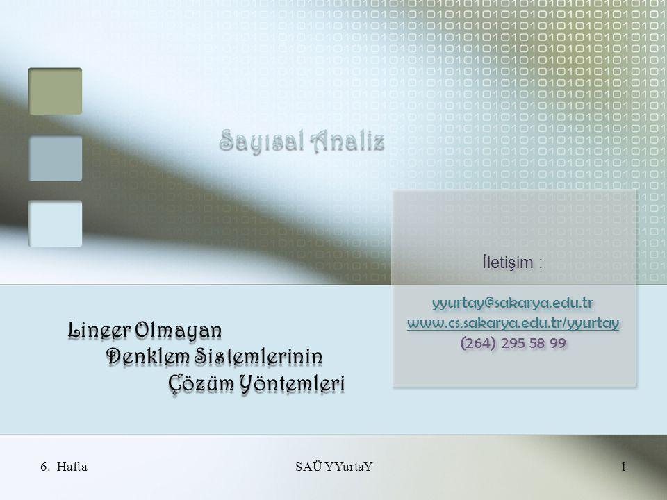 Sayısal Analiz Lineer Olmayan Denklem Sistemlerinin Denklem Sistemlerinin Çözüm Yöntemleri Çözüm Yöntemleri 1SAÜ YYurtaY İletişim : yyurtay@sakarya.edu.tr www.cs.sakarya.edu.tr/yyurtay (264) 295 58 99 İletişim : yyurtay@sakarya.edu.tr www.cs.sakarya.edu.tr/yyurtay (264) 295 58 99 6.