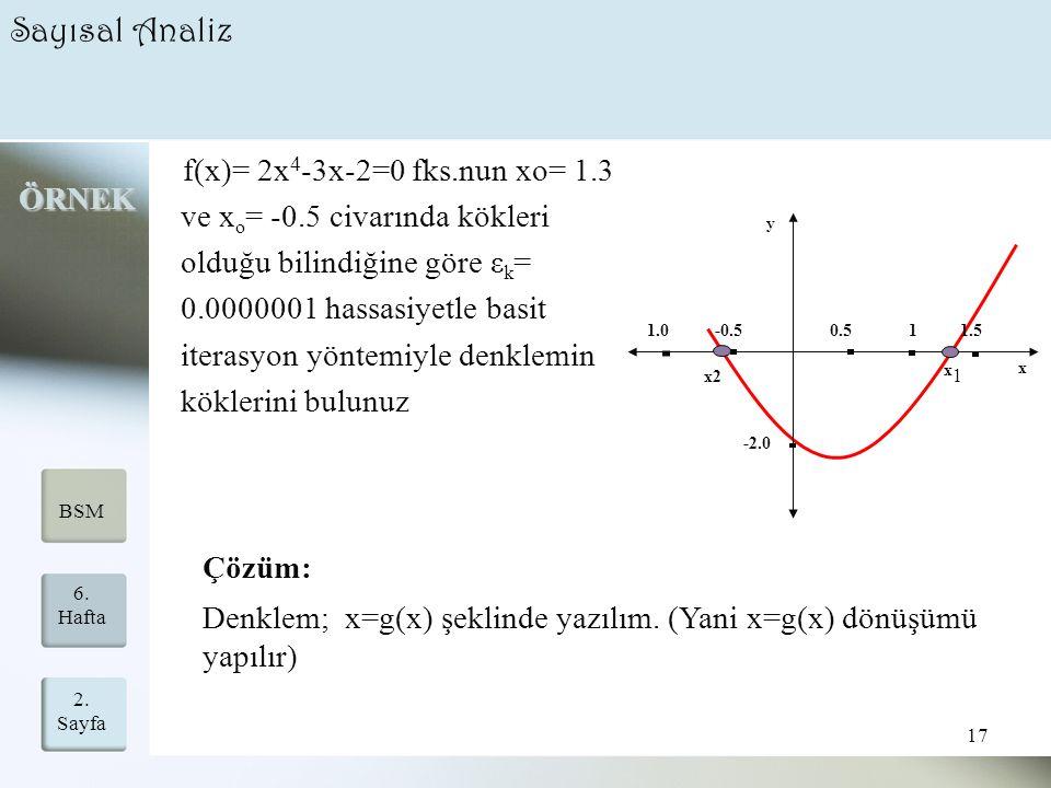 2. Sayfa 17 6. Hafta BSM Sayısal Analiz f(x)= 2x 4 -3x-2=0 fks.nun xo= 1.3 ve x o = -0.5 civarında kökleri olduğu bilindiğine göre ε k = 0.0000001 has