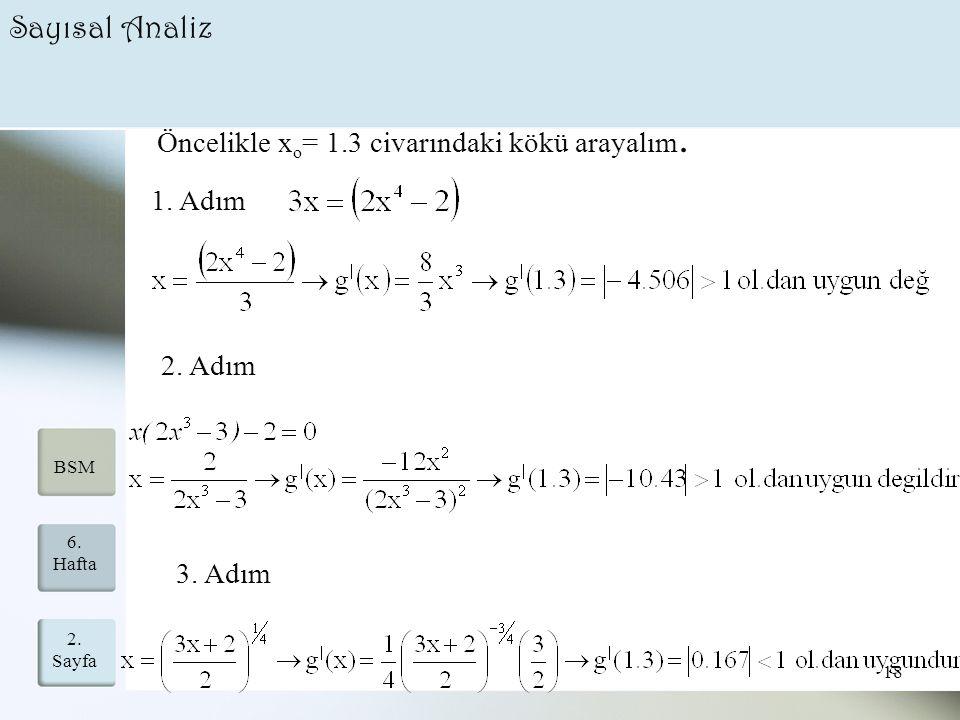 2. Sayfa 18 6. Hafta BSM Sayısal Analiz Öncelikle x o = 1.3 civarındaki kökü arayalım. 1. Adım 3. Adım 2. Adım