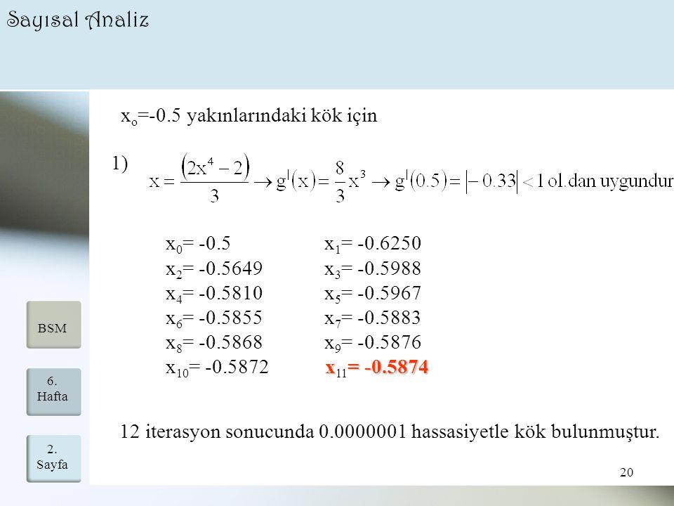 2. Sayfa 20 6. Hafta BSM Sayısal Analiz x o =-0.5 yakınlarındaki kök için 1) x 0 = -0.5 x 1 = -0.6250 x 2 = -0.5649 x 3 = -0.5988 x 4 = -0.5810 x 5 =