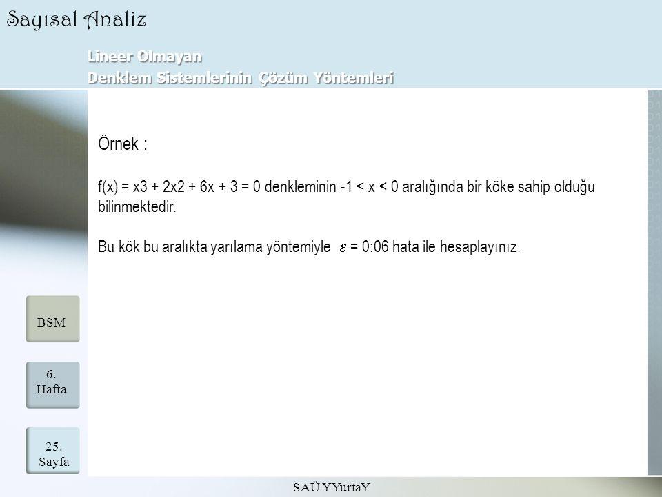 Lineer Olmayan Denklem Sistemlerinin Çözüm Yöntemleri SAÜ YYurtaY 25. Sayfa 6. Hafta BSM Sayısal Analiz Örnek : f(x) = x3 + 2x2 + 6x + 3 = 0 denklemin
