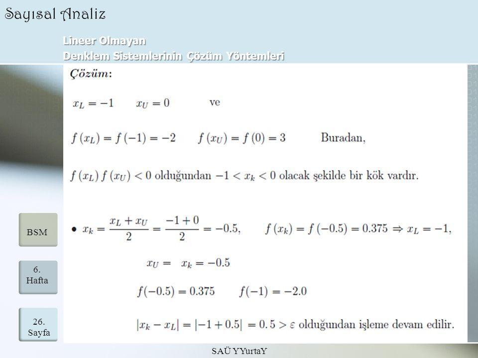 Lineer Olmayan Denklem Sistemlerinin Çözüm Yöntemleri SAÜ YYurtaY 26. Sayfa 6. Hafta BSM Sayısal Analiz
