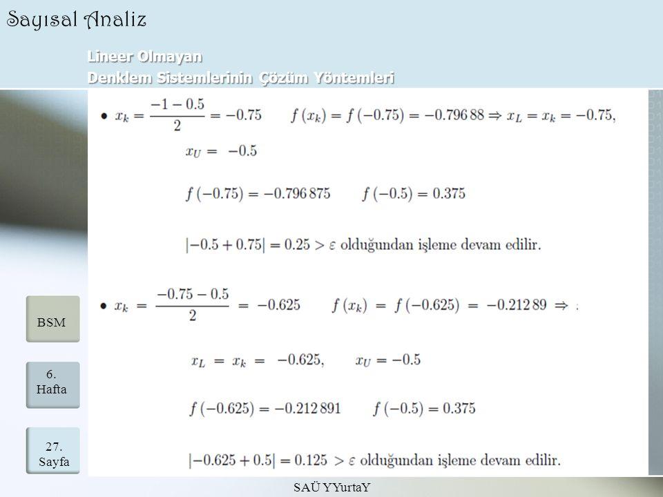 Lineer Olmayan Denklem Sistemlerinin Çözüm Yöntemleri SAÜ YYurtaY 27.