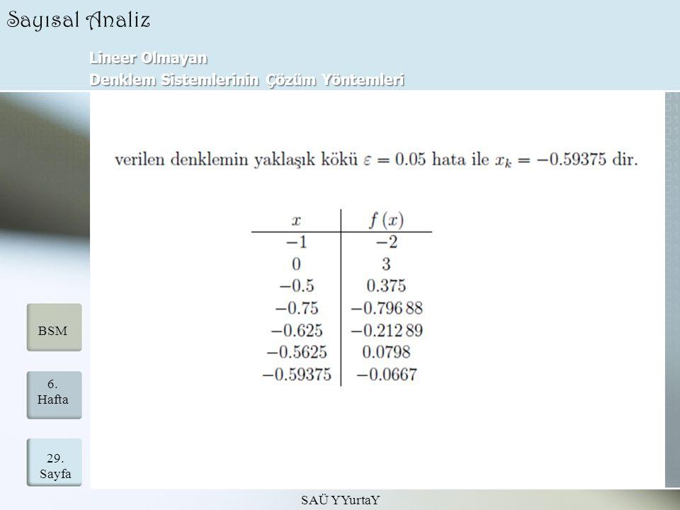 Lineer Olmayan Denklem Sistemlerinin Çözüm Yöntemleri SAÜ YYurtaY 29.