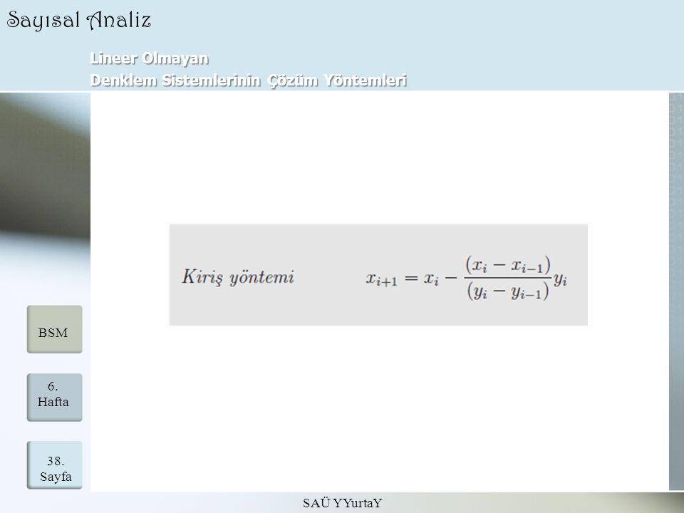Lineer Olmayan Denklem Sistemlerinin Çözüm Yöntemleri SAÜ YYurtaY 38. Sayfa 6. Hafta BSM Sayısal Analiz