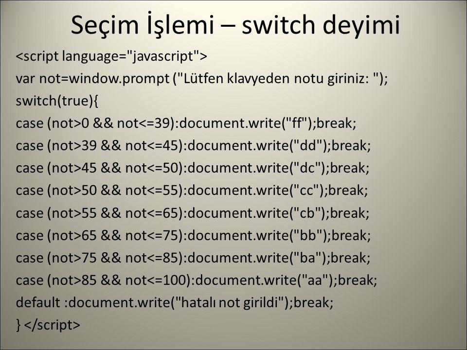 Seçim İşlemi – switch deyimi var not=window.prompt (
