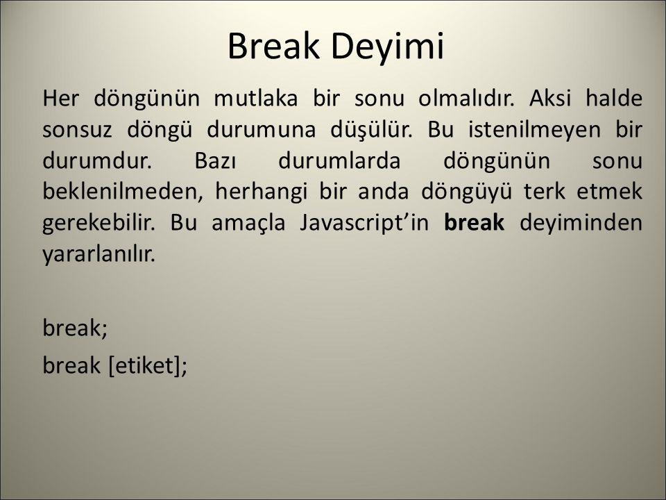 Break Deyimi Her döngünün mutlaka bir sonu olmalıdır. Aksi halde sonsuz döngü durumuna düşülür. Bu istenilmeyen bir durumdur. Bazı durumlarda döngünün