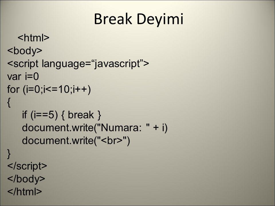 Break Deyimi var i=0 for (i=0;i<=10;i++) { if (i==5) { break } document.write(