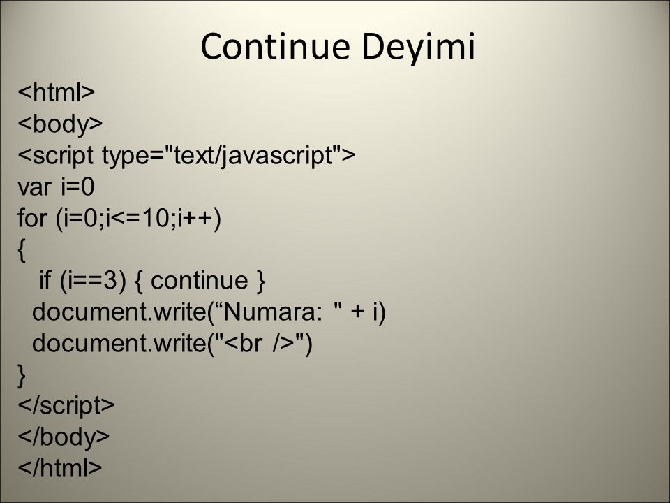"""Continue Deyimi var i=0 for (i=0;i<=10;i++) { if (i==3) { continue } document.write(""""Numara:"""
