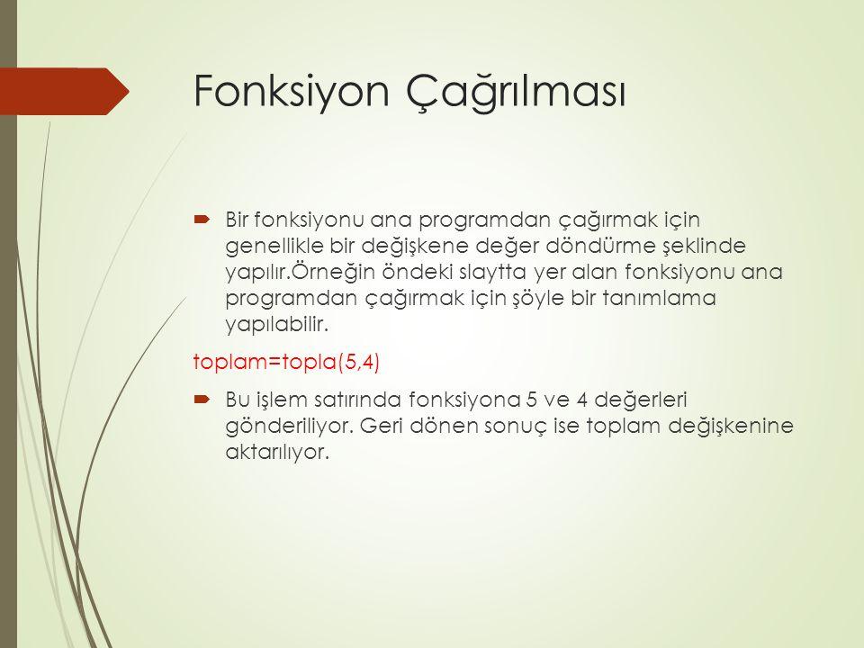 Fonksiyon Çağrılması  Bir fonksiyonu ana programdan çağırmak için genellikle bir değişkene değer döndürme şeklinde yapılır.Örneğin öndeki slaytta yer
