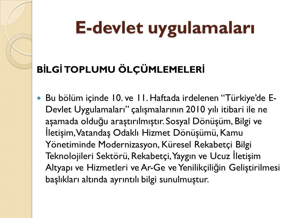 E-devlet uygulamaları B İ LG İ TOPLUMU ÖLÇÜMLEMELER İ Devlet Planlama Teşkilatı (DPT) koordinasyonunda yürütülen e- Dönüşüm Türkiye Projesi, temelde Türkiye'nin bilgi toplumuna dönüşüm sürecini hızlandırmayı amaçlamaktadır.