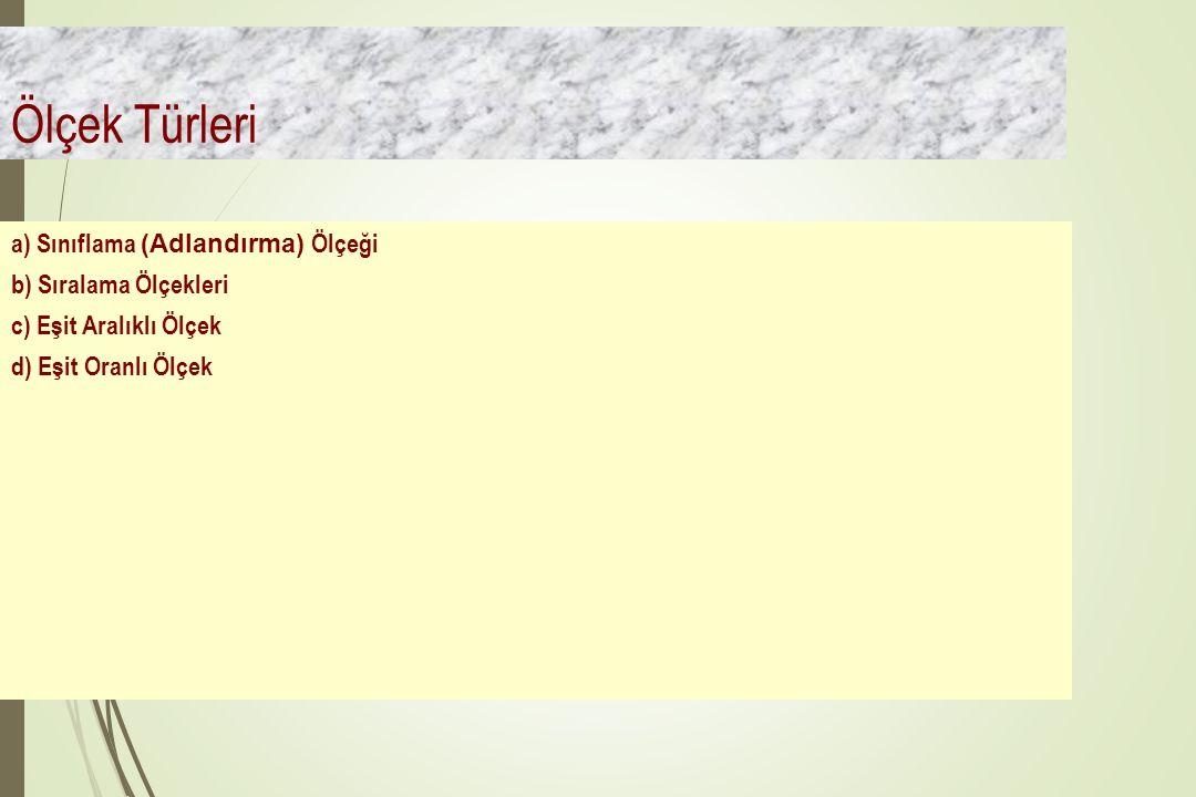 Ölçek Türleri a) Sınıflama (Adlandırma) Ölçeği b) Sıralama Ölçekleri c) Eşit Aralıklı Ölçek d) Eşit Oranlı Ölçek