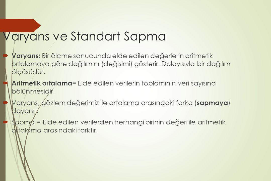 Varyans ve Standart Sapma  Varyans: Bir ölçme sonucunda elde edilen değerlerin aritmetik ortalamaya göre dağılımını (değişimi) gösterir. Dolayısıyla