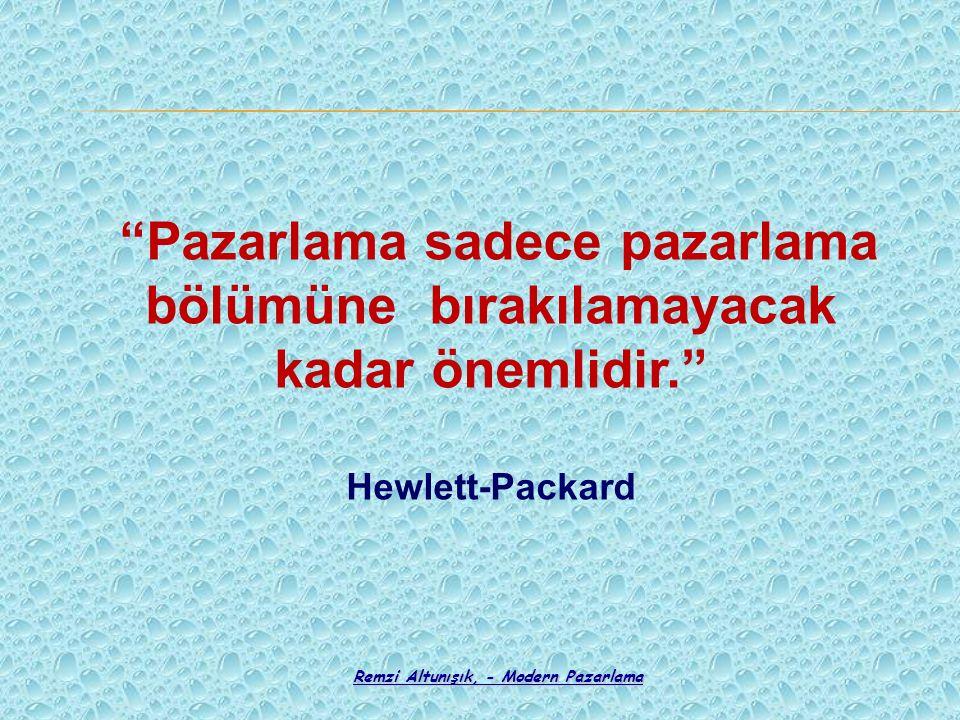 """""""Pazarlama sadece pazarlama bölümüne bırakılamayacak kadar önemlidir."""" Hewlett-Packard"""