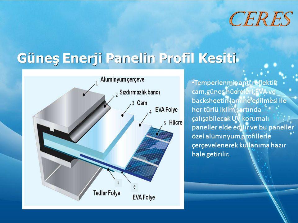 Güneş Enerji Panelin Profil Kesiti Güneş Enerji Panelin Profil Kesiti Temperlenmiş anti reflektif cam,güneş hücreleri,EVA ve backsheetin lamine edilmesi ile her türlü iklim şartında çalışabilecek UV korumalı paneller elde edilir ve bu paneller özel alüminyum profillerle çerçevelenerek kullanıma hazır hale getirilir.