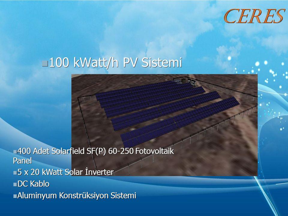 100 kWatt/h PV Sistemi 100 kWatt/h PV Sistemi 400 Adet Solarfield SF(P) 60-250 Fotovoltaik Panel 400 Adet Solarfield SF(P) 60-250 Fotovoltaik Panel 5 x 20 kWatt Solar İnverter 5 x 20 kWatt Solar İnverter DC Kablo DC Kablo Aluminyum Konstrüksiyon Sistemi Aluminyum Konstrüksiyon Sistemi CERES