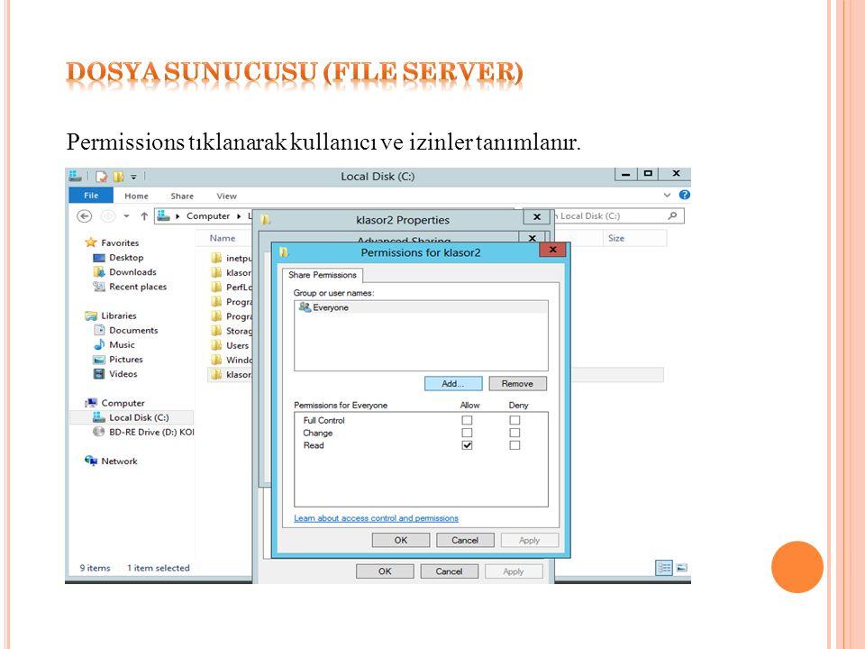 Permissions tıklanarak kullanıcı ve izinler tanımlanır.
